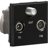 Knightsbridge Triplexed TV / FM DAB / SAT TV Outlet Module 50mm x 50mm - Black