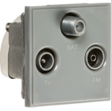 Knightsbridge Triplexed TV / FM DAB / SAT TV Outlet Module 50mm x 50mm - Grey