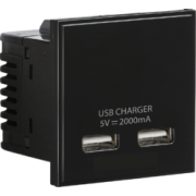 Knightsbridge Dual USB Charger (2A) Module 50mm x 50mm - Black
