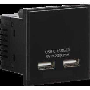 Knightsbridge Dual USB Charger (2A) Module 50mm x 50mm - Black