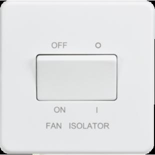 Screwless 10A 3 Pole Fan Isolator Switch - Matt White
