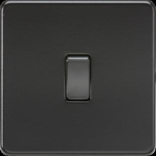 Knightsbridge Screwless 10A 1G 2 Way Switch - Matt Black With Black Rocker