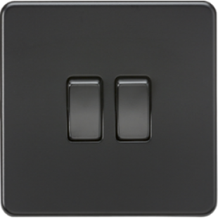 Screwless 10A 2G 2Way Switch - Matt Black With Black Rockers