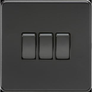 Screwless 10A 3G 2 Way Switch - Matt Black With Black Rockers