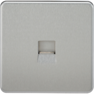 Screwless Telephone Extension Socket - Brushed Chrome