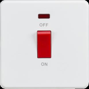 Screwless 45A 1G DP Switch With Neon - Matt White
