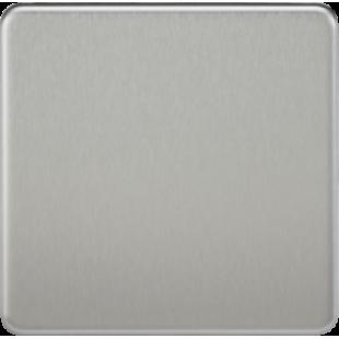 Screwless 1G Blanking Plate - Brushed Chrome