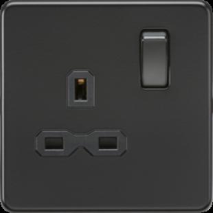 Screwless 13A 1G DP Switched Socket - Matt Black With Black Insert