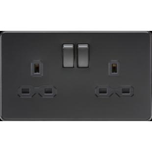 Screwless 13A 2G DP Switched Socket - Matt Black With Black Insert