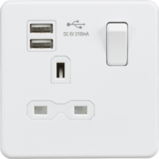 Screwless 13A 1G Switched Socket With Dual USB Charger - Matt White