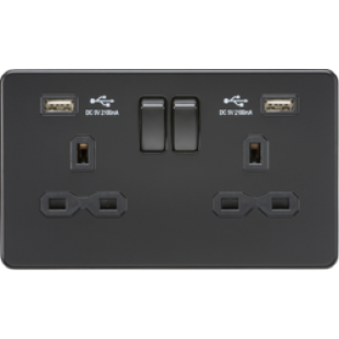 Screwless 13A 2G Switched Socket With Dual USB Charger (2.1A) - Matt Black