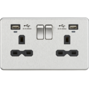 Screwless 13A Smart 2G Switched Socket With USB Chargers (2.4A) - Brushed Chrome With Black Insert
