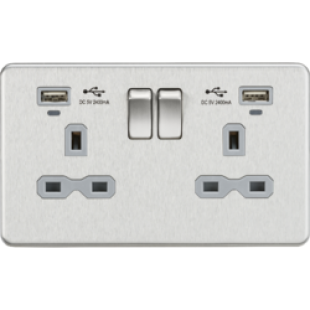 Screwless 13A Smart 2G Switched Socket With USB Chargers (2.4A) - Brushed Chrome With Grey Insert