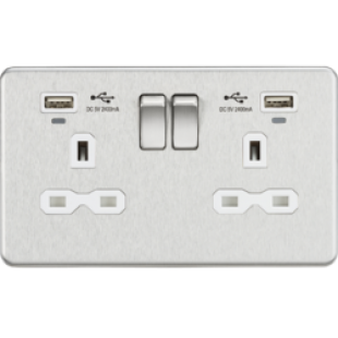 Screwless 13A Smart 2G Switched Socket With USB Chargers (2.4A) - Brushed Chrome With White Insert