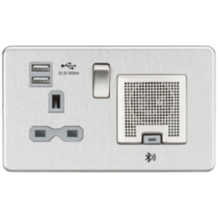 Screwless 13A Socket USB Chargers (2.4A) And Bluetooth Speaker - Brushed Chrome With Grey Insert
