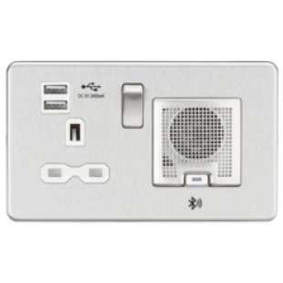 Screwless 13A Socket USB Chargers (2.4A) And Bluetooth Speaker - Brushed Chrome With White Insert