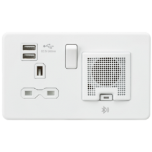 Screwless 13A Socket USB Chargers (2.4A) And Bluetooth Speaker - Matt White