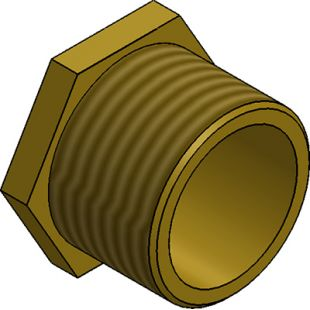 63mm Male Brass Bush Short