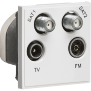 Knightsbridge Quadplexed SAT1 / SAT2 / TV / FM DAB Outlet Module 50mm x 50mm - White