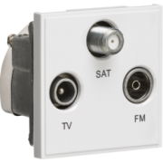 Knightsbridge Triplexed TV / FM DAB / SAT TV Outlet Module 50mm x 50mm - White