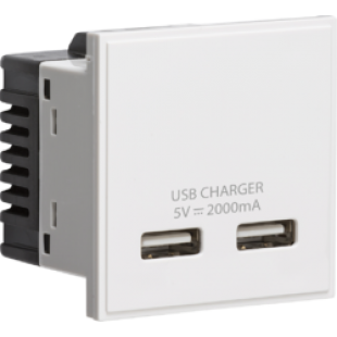 Knightsbridge Dual USB Charger (2A) Module 50mm x 50mm - White