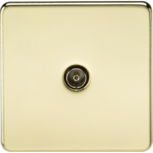 Screwless 1G TV Outlet Non-Isolated - Polished Brass