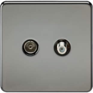 Screwless TV & SAT TV Outlet Isolated - Black Nickel