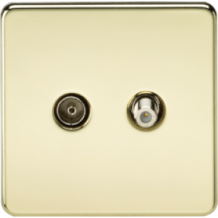 Screwless TV & SAT TV Outlet Isolated Polished Brass