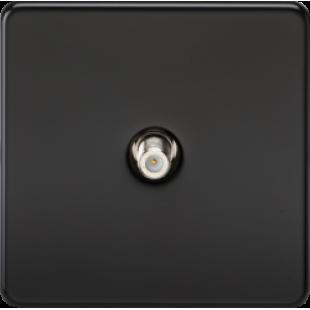 Screwless 1G SAT TV Outlet Non-Isolated Matt Black