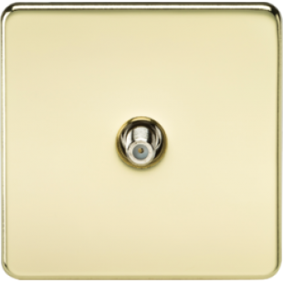 Screwless 1G SAT TV Outlet Non-Isolated Polished Brass