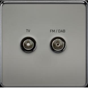 Screwless Screened Diplex Outlet TV & FM DAB Black Nickel