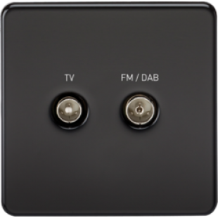 Screwless Screened Diplex Outlet TV & FM DAB - Matt Black