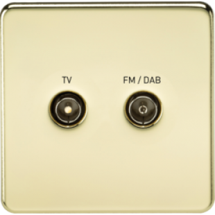 Screwless Screened Diplex Outlet TV & FM DAB - Polished Brass
