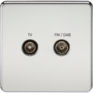 Screwless Screened Diplex Outlet TV & FM DAB - Polished Chrome