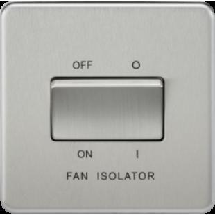 Screwless 10A 3 Pole Fan Isolator Switch - Brushed Chrome