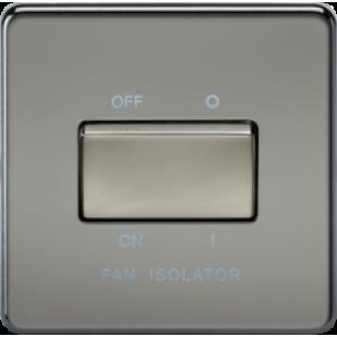 Screwless 10A 3 Pole Fan Isolator Switch - Black Nickel