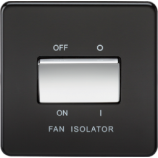 Screwless 10A 3 Pole Fan Isolator Switch - Matt Black