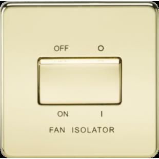 Screwless 10A 3 Pole Fan Isolator Switch - Polished Brass