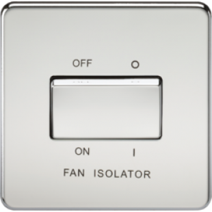 Screwless 10A 3 Pole Fan Isolator Switch - Polished Chrome