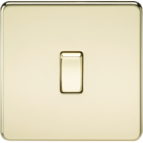 Screwless 10A 1G Intermediate Switch - Polished Brass