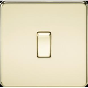 Screwless 10A 1G Intermediate Switch - Polished Brass
