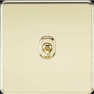 Screwless 10A 1G Intermediate Toggle Switch - Polished Brass