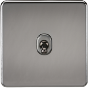 Screwless 10A 1G 2 Way Toggle Switch - Black Nickel