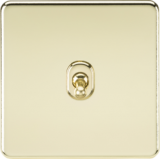 Screwless 10A 1G 2 Way Toggle Switch - Polished Brass