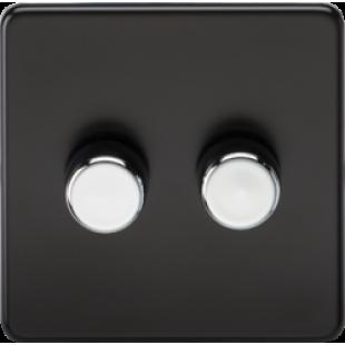 Screwless 2G 2 Way Dimmer 60-400W - Matt Black With Chrome Knobs