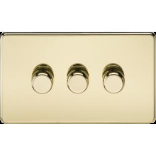 Screwless 3G 2 Way Dimmer 60-400W - Polished Brass