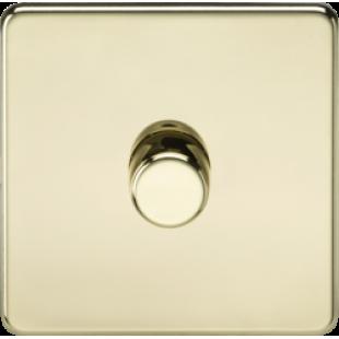 Screwless 1G 2 Way 40-400W Dimmer Switch - Polished Brass