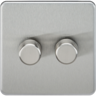 Screwless 2G 2 Way 40-400W Dimmer Switch - Brushed Chrome