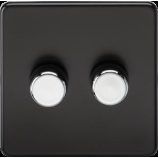 Screwless 2G 2 Way 40-400W Dimmer Switch - Matt Black