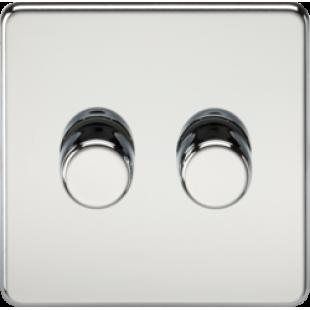 Screwless 2G 2 Way 40-400W Dimmer Switch - Polished Chrome